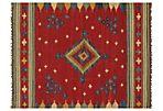 5'x8' Pakistani Kelim Flatweave Rug, Red