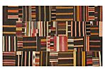 6'x9' Patchwork Flat-Weave Rug, Black