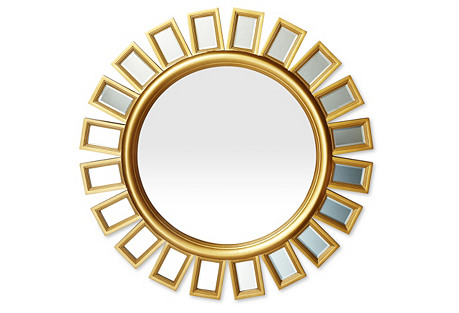 Sunburst Beveled Wall Mirror, Gold
