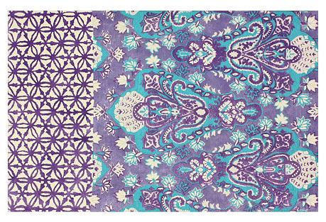 Cassandra Rug, Purple/Aqua