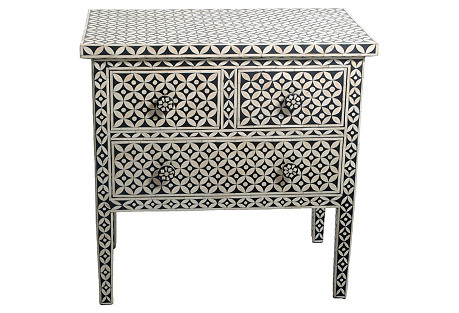 Izzy Bone Inlay Dresser, Black/White