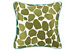 Monaco 18x18 Embroidered Pillow, Green