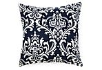 Paisley 20x20 Outdoor Pillow, Navy