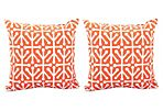 S/2 Dancer 20x20 Outdoor Pillows, Orange