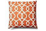 Trellis 20x20 Cotton Pillow, Orange
