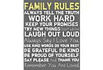Family Rules Canvas, Yellow on Gray