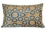 Cemile 16x24 Silk-Blend Pillow, Blue