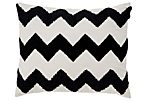 Chevron 16x20 Cotton Pillow, Black