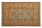 """4'2""""x6'3"""" Ottoman Knotted Rug, Blue"""
