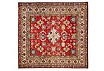 "6'2""x6'4"" Kazak Hand-Knotted Rug, Red"
