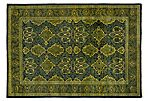 "4'3""x6'1"" Mogul Hand-Knotted Rug, Green"