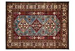 "5'x6'7"" Shirvan Knotted Rug, Blue/Rust"