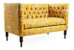 "Elizabeth 52"" Tufted Settee, Yellow"
