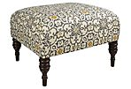 """June 25"""" Ottoman, Gray/Yellow Floral"""