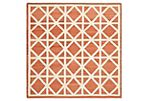 Solitaire Dhurrie, Red/Ivory