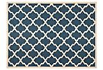 Mia Outdoor Rug, Navy/Beige