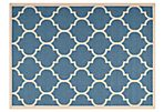 Lori Outdoor Rug, Blue/Bone