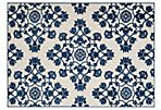 Clovis Outdoor Rug, Cream/Royal