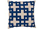 Trellis Cotton Pillow, Blue