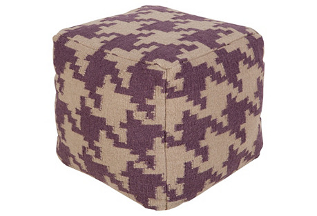Houndstooth Pouf, Purple