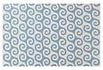 Waves Flat-Weave Rug, White/Blue