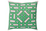 Chinese Gate 20x20 Linen Pillow, Green