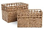 S/2 Knotted Rim Hyacinth Baskets