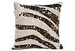Zebra Hide Pillow, Br/Be/Gold