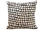 Croc 18x18 Hide Pillow, Chocolate