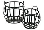 Set of 2 Round Metal Basket, Black