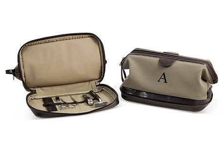 Travel with One Kings Lane mens suede toiletry bag