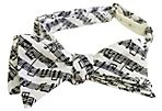 Music Note Bow Tie, White/Black
