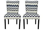 Blue Lark Side Chairs, Pair