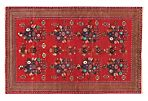 "6'5""x10'1 Traditional Rizbaft Rug, Red"