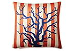 Coral Stripe 20x20 Pillow, Orange/Blue