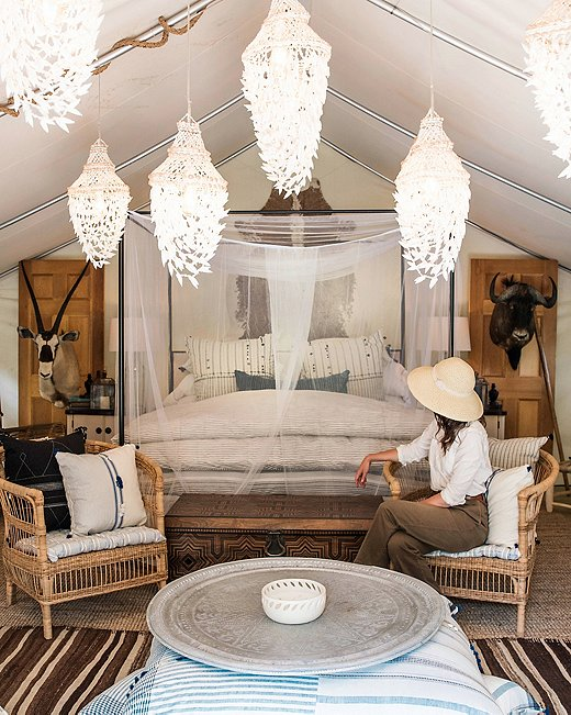 """Jackie's favorite """"glamping"""" tent at Sandy Pines transports you to an African safari."""