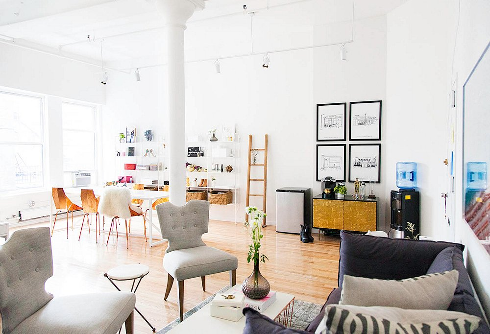 The loft space, located in New York's NoHo neighborhood, is where Medine works alongside her five full-time employees.