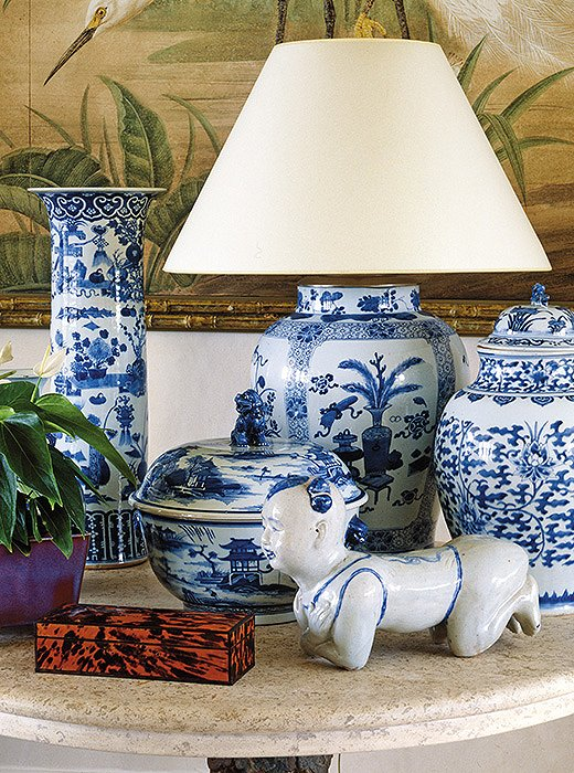 """John has been collecting blue-and-white china for years, all sorts of pieces,"" Bunny writes of the enviable assemblage of ginger jars, vases, and other vessels placed throughout the house."