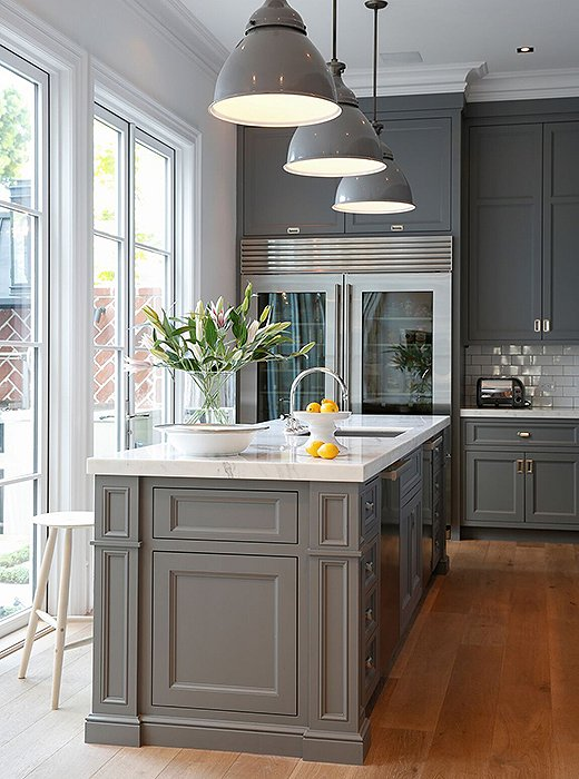 Chelsea Gray Kitchen Cabinets With Blue Walls