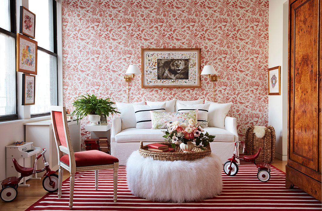 """It's a color pop that I was not expecting,"" Zanna says of the room's new red-and-white palette. ""I would never have gone for it, honestly, but it works so well."""