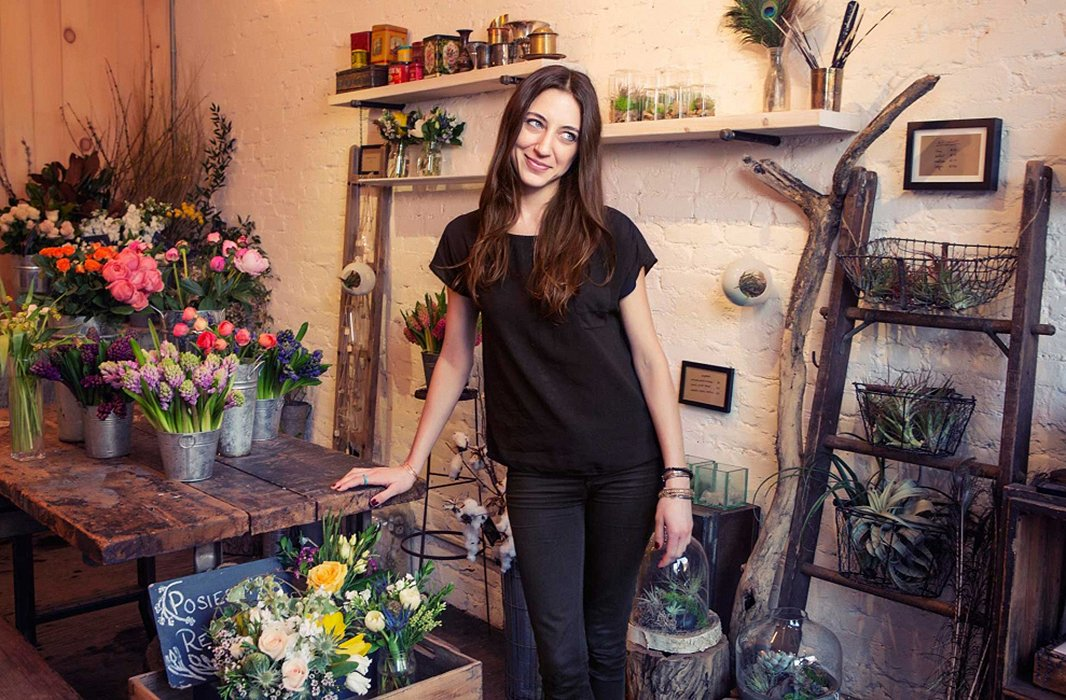 Flower girl Denise Porcaro in her studio shop. Photo courtesy ofJane Bishop.