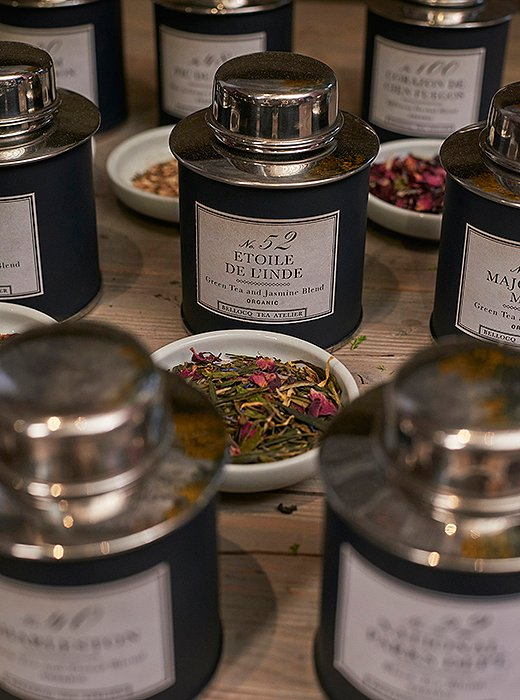 Bellocq's blended—or flavored—teas have the added lure of looking beautiful. To make a blended tea, flowers, spices, fruits, or herbs are rolled in after leaves are processed (Earl Grey—a black tea with essential oil of bergamot—is the classic blended tea).