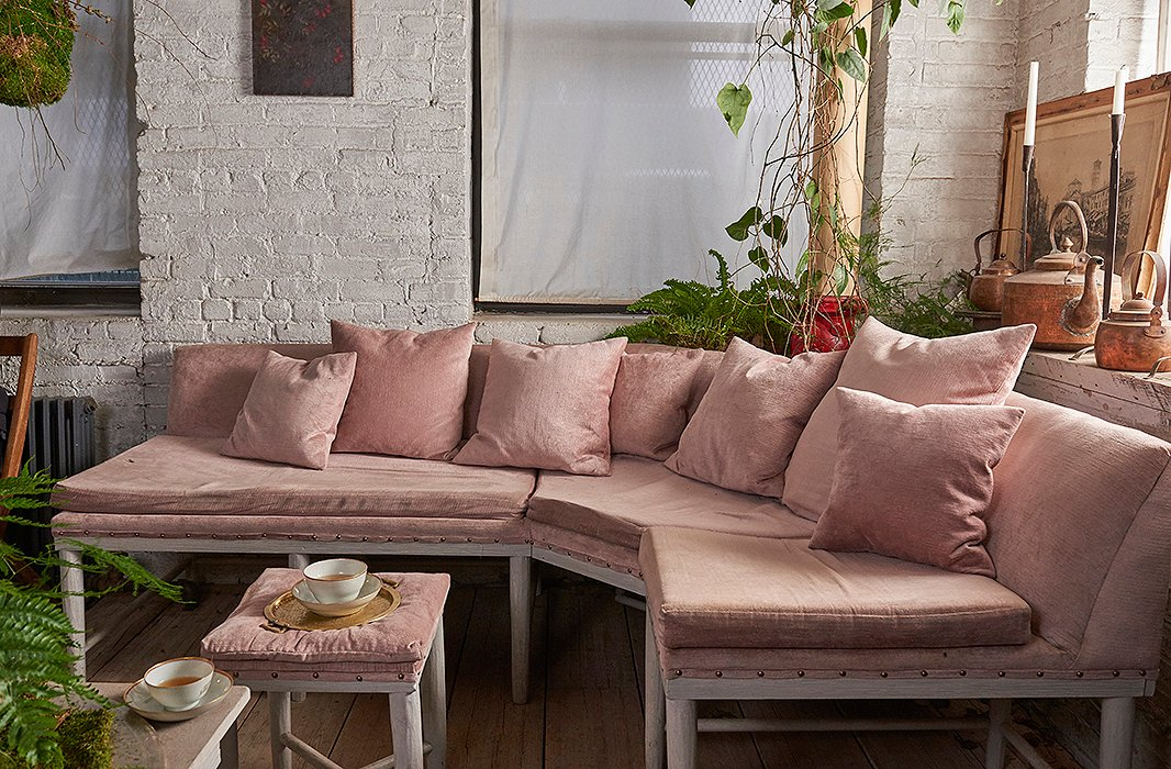 """Tucked into a corner of Bellocq's atelier is this pink room, where clients sit and sip tea while their purchases are being wrapped. It's a hideaway from the outside world: """"People come here for a little peace—or sometimes to break up with their boyfriend,"""" says Heidi."""