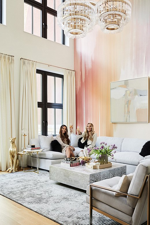 One Kings Lane To the Trade member Nikki Chu and client La La in the latter's new Brooklyn home. With double-height ceilings, Nikki went with Lilian August's Abstract Crossingsto fill the space.