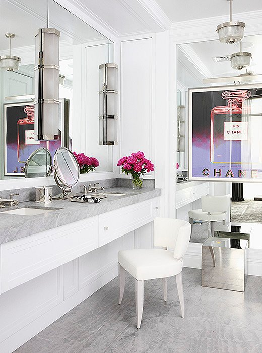 Chic vanity in master bathroom