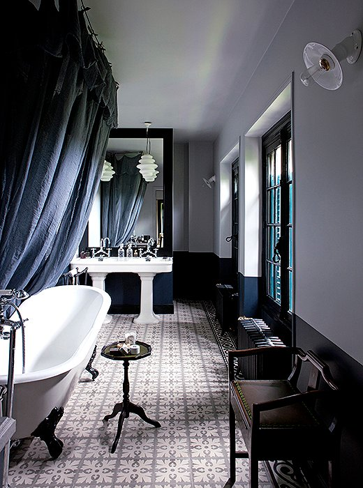 navy black and white pictures for bathrooms. Photo by Jean Marc Palisse Cote Paris Interior Archive 10 Master Bathroom Ideas to Inspire Your New Oasis