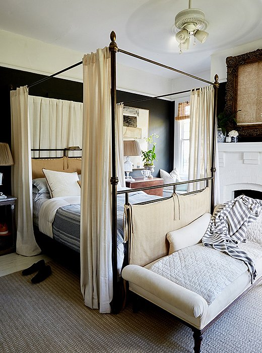A canopy bed and a ceiling fan: Sweet dreams are made of this. Room by William McLure; photo by Frank Tribble