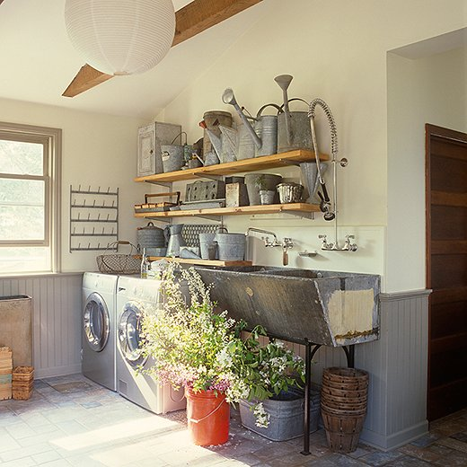 Love this rustic laundry room