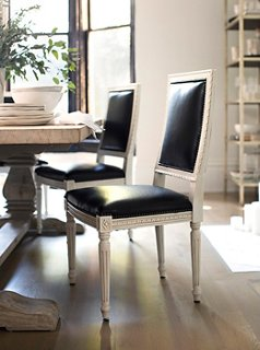 Upholstered In Black Leather, Our Louis XVI Style Exeter Chair Takes On A  Modern