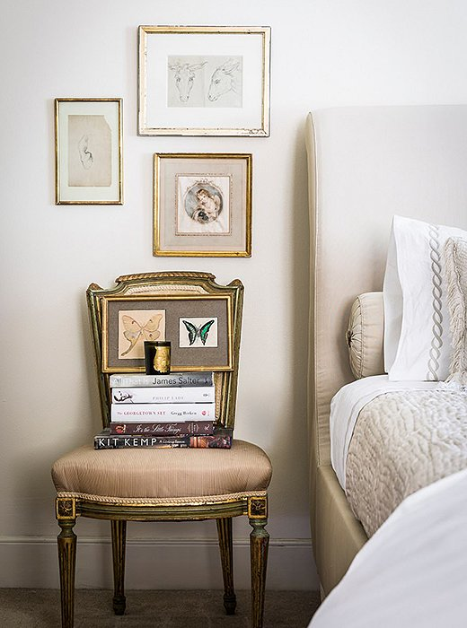 A shield-shape back gives this petite Louis XVI chair a sense of presence. Fluted details on the chair legs and frame reflect the era's neoclassical flavor. Photo by Lesley Unruh.